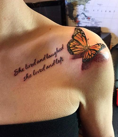 Tatuaje De Una Mariposa Pecho Hombro 1 1 Tatuajes Para Mujeres
